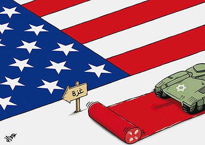 كاريكاتير: البساط الاحمر الامريكي نحو غزة