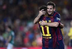 نيمار يقود برشلونة لفوز ساحق، وأول ظهور لسواريز مع برشلونة