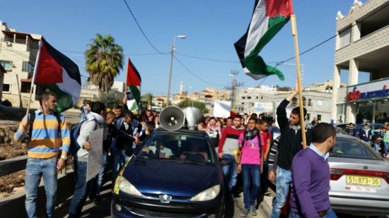 مسيرات طلابية بسخنين لنصرة القدس وتنديدا بإعدام الشاب حمدان