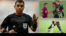 حكم مباراة يرش الرذاذ نحو لاعب كرة قدم مكسيكي