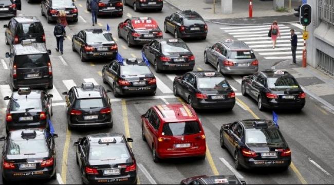 احتجاجات بسيارات الأجرة في بروكسل