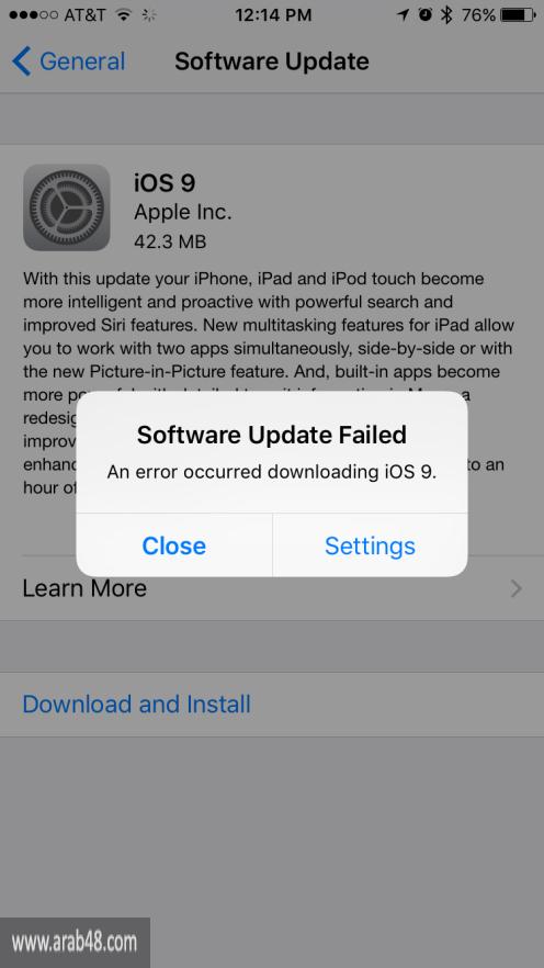 """مستخدمو آبل يواجهون المشكلات في النظام الجديد """"آي أو إس 9"""""""