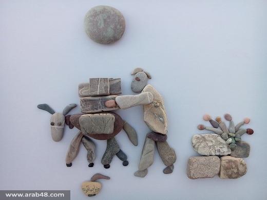 نحات سوري يرسم ويلات الحرب والتهجير بالحجارة