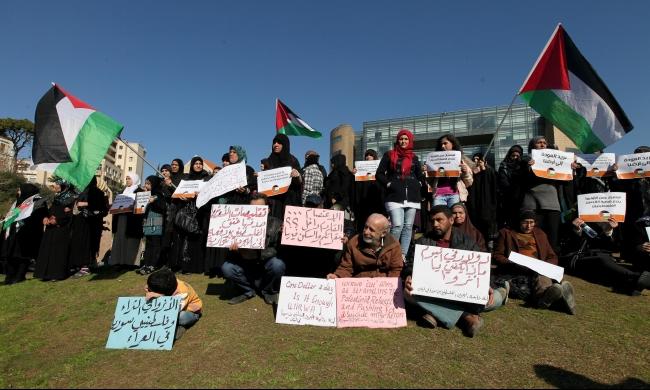 بيروت: اللاجئون الفلسطينيون يحتجون على تقليصات الأنروا