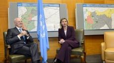الجعفري: زيارة موغيريني رسالة دعم للمحادثات السورية