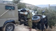 إصابة 4 جنود احتلال بانقلاب سيارة قرب رام الله