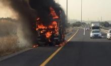 ألسنة النيران تلتهم شاحنة قرب جلجولية