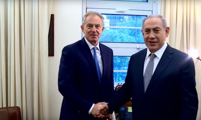 """نتنياهو يلتقي بلير لبحث """"مبادرة السلام"""""""