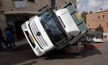 شاهد: انقلاب شاحنة على سيارة في البعينة