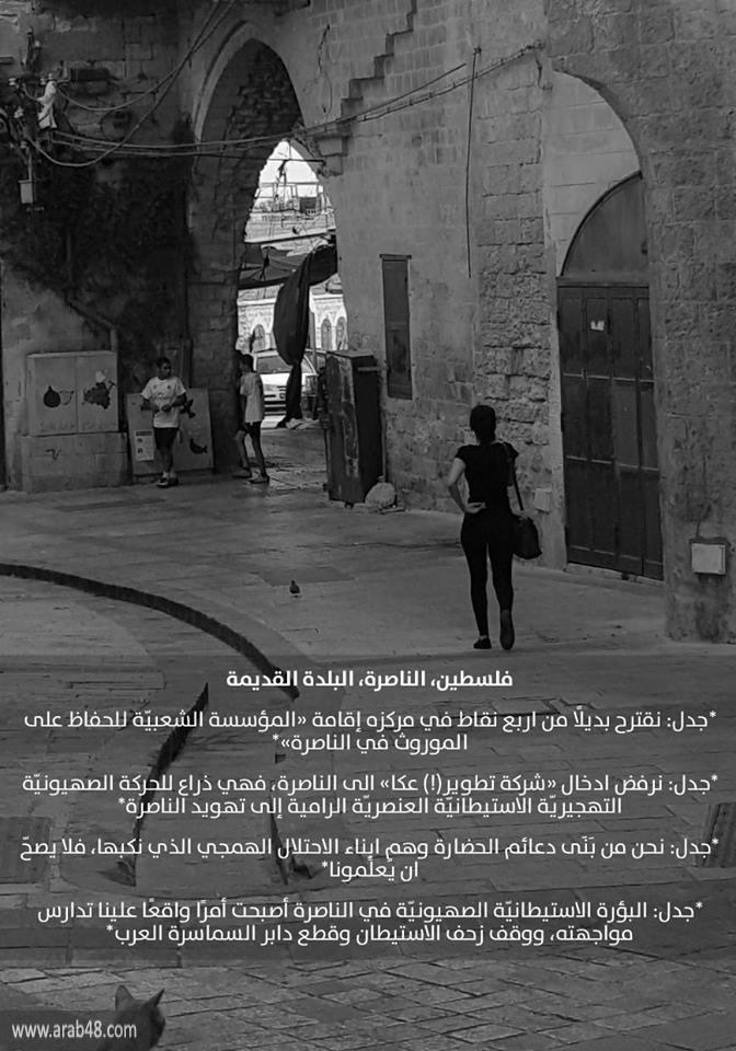 جدل في الناصرة: نرفض شركة تطوير عكا ذات الأجندة الصهيونية