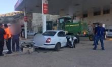 البعينة نجيدات: إصابة شخص بحادث اصطدام سيارة بمحطة وقود