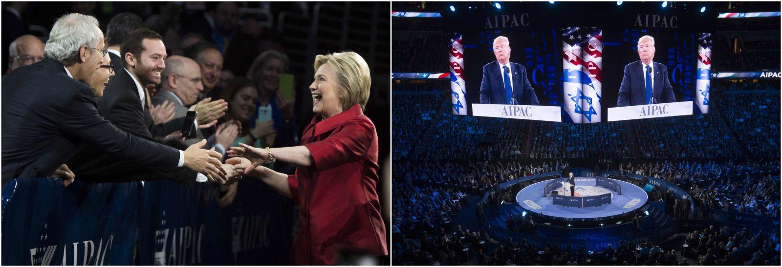 مرشحا الحزبين الأكبرين، كلينتون وترامب، في مؤتمر إيباك السنوي (أ ب)