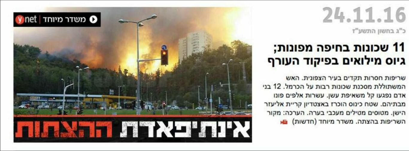 العنوان الرئيسي في واينت اليوم: 'انتفاضة الحرائق'