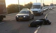 إصابة سائق دراجة نارية بحادث قرب الرملة