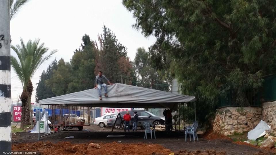 خيمة اعتصام بقلنسوة تصديا لمخططات الهدم