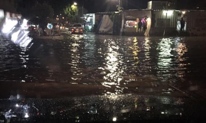غرق شوارع في قلنسوة بسبب الأمطار الغزيرة
