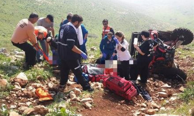 إصابتان إحداهما خطيرة في انقلاب دباب قرب بيسان
