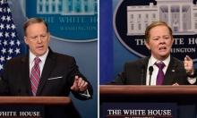 تنكرت بزي المتحدث باسم البيت الأبيض وجابت نيويورك على منصة متحركة