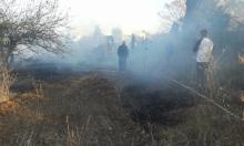 حريق كبير في منطقة اللطرون