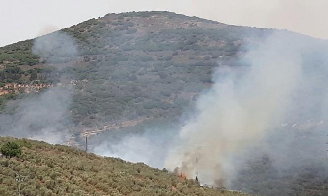 حريق هائل في أحراش قرب كوكب أبو الهيجاء