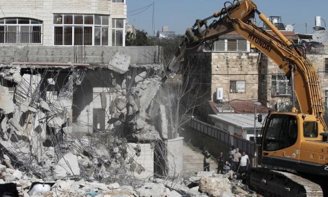 الاحتلال هدم 105 منازل ومنشآت بالقدس منذ بداية العام