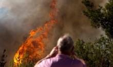 إغلاق طريق لمطار اللد بسبب حريق