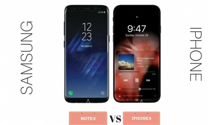 """مقارنة بين هاتفي""""آيفون 10"""" و """"نوت 8"""" من هو الهاتف الأفضل؟"""