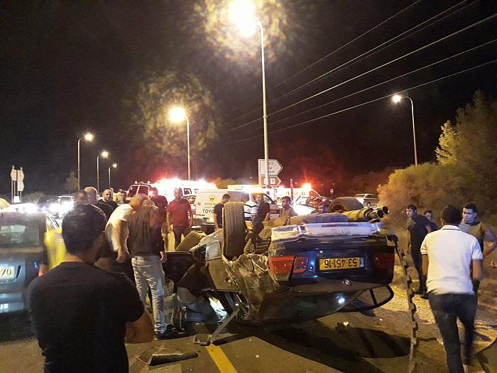 عرابة: إصابة شخص في حادث انقلاب سيارة