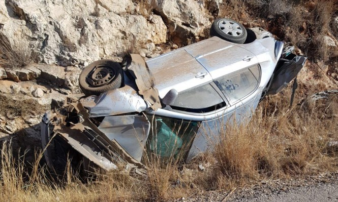 إصابة متوسطة إثر انقلاب سيارة قرب جث الجليل