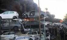 قلنسوة: حريق هائل في محل لقطع السيارات