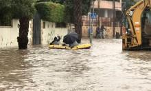 قلنسوة: مياه الأمطار الغزيرة تغمر الشوارع