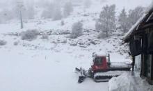 الثلوج تتراكم في جبل الشيخ (فيديو وصور)
