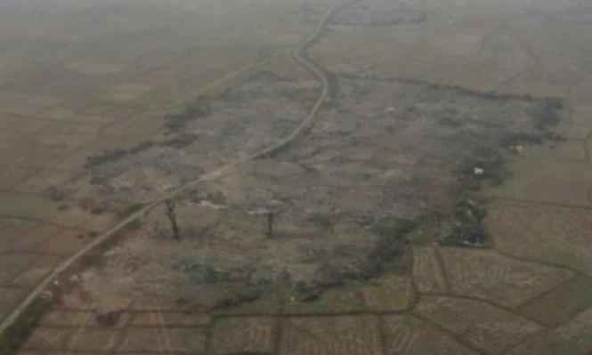 الجيش البورمي يجرف قرى الروهينغا المحروقة