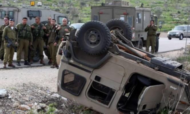 إصابة 6 جنود بانقلاب جيب على حدود غزة
