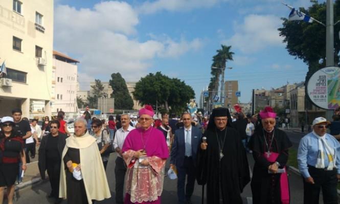 """مشاركة واسعة في """"طلعة العذراء"""" في حيفا"""