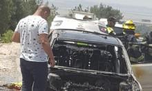 ألسنة النار تلتهم سيارة قرب مجد الكروم