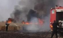 النيران تشتعل بحقول زراعية للمستوطنات المحيطة بغزة