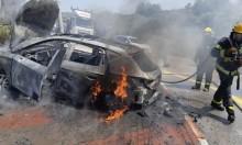 إصابتان في حادث واحتراق سيارة بمفرق أبو سنان