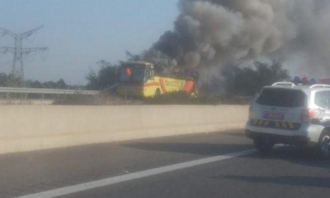 اندلاع حريق في حافلة بمنطقة المثلث