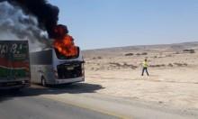 النقب: احتراق حافلة ركاب