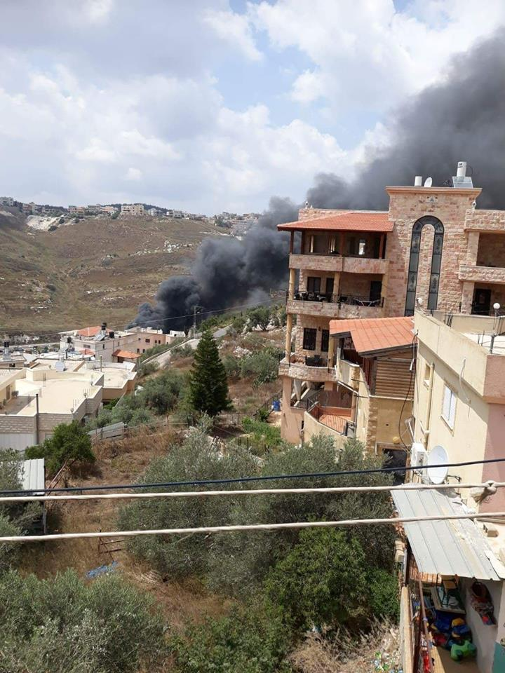 حريق هائل في محل تجاري بسوق أم الفحم