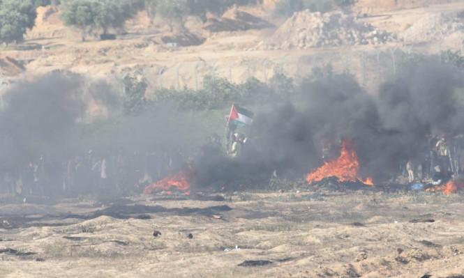 """حرائق بـ""""غلاف غزة"""" والاحتلال يطلق النار على 3 شبان"""