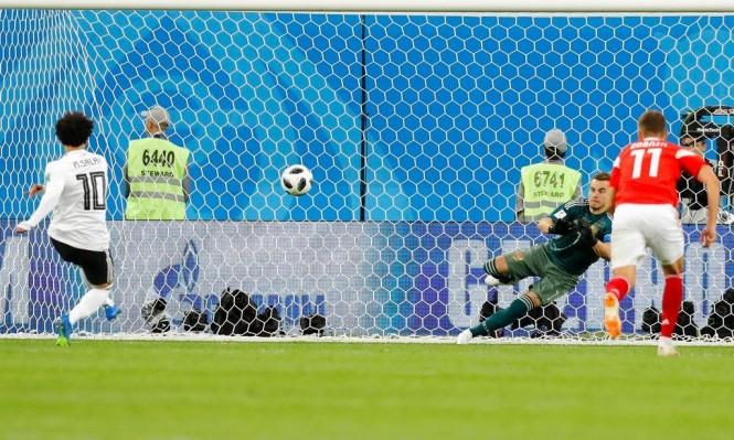 هدف المصري محمد صلاح في شباك روسيا في مباراة الأمس