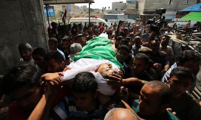 تشييع فلسطيني استشهد جراء قصف للاحتلال جنوبي غزة