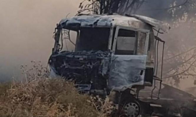 الطيبة الزعبية: إصابة خطيرة لسائق في احتراق شاحنة