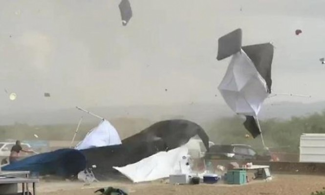 فيديو: إعصار يضرب شاطئ الطنطورة قرب حيفا