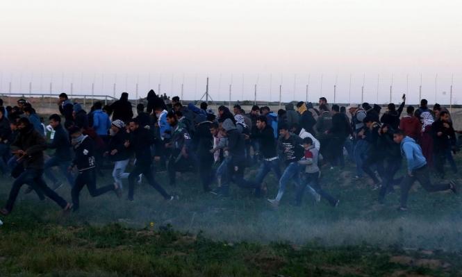 """غزة: 59 مصابًا جراء قمع الاحتلال لمسيرات """"الوحدة طريق الانتصار"""""""