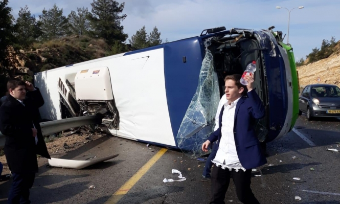قتيلان و41 إصابة بينها خطيرة جراء انقلاب حافلة قرب القدس