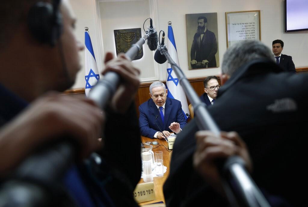 نتنياهو خلال اجتماع الحكومة الإسرائيلية الأخير (أ ب)
