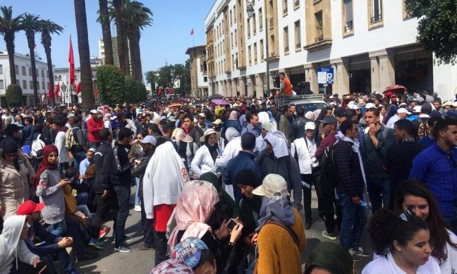 المعلمون المغاربة يتظاهرون للمطالبة بعقود عمل دائمة